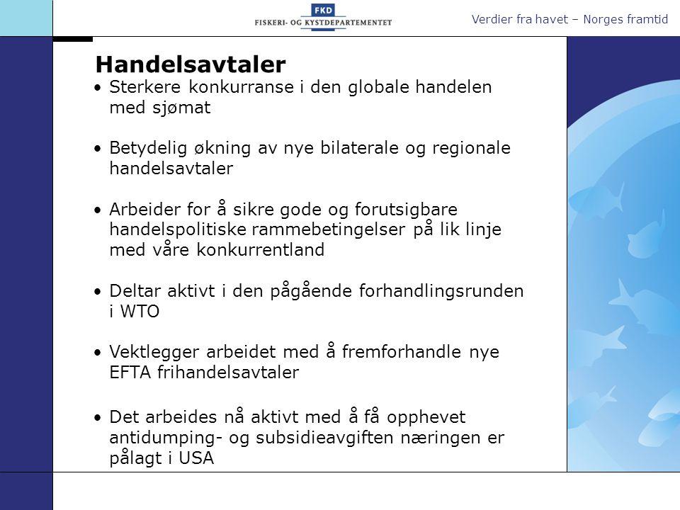 Verdier fra havet – Norges framtid Sterkere konkurranse i den globale handelen med sjømat Betydelig økning av nye bilaterale og regionale handelsavtaler Arbeider for å sikre gode og forutsigbare handelspolitiske rammebetingelser på lik linje med våre konkurrentland Deltar aktivt i den pågående forhandlingsrunden i WTO Vektlegger arbeidet med å fremforhandle nye EFTA frihandelsavtaler Det arbeides nå aktivt med å få opphevet antidumping-og subsidieavgiften næringen er pålagt i USA Handelsavtaler