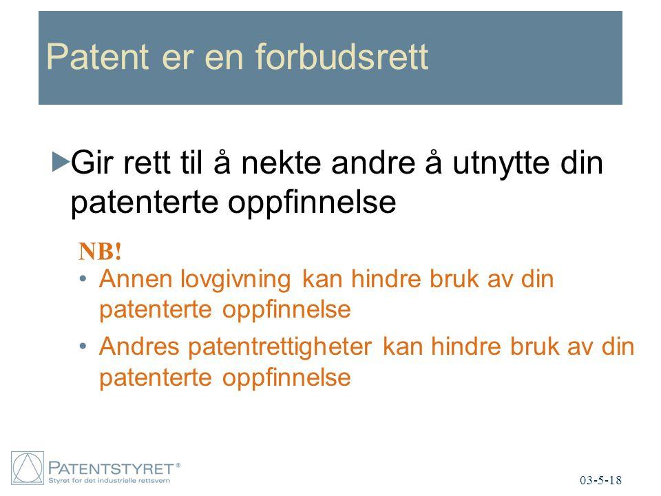 Patent er en forbudsrett  Gir rett til å nekte andre å utnytte din patenterte oppfinnelse Annen lovgivning kan hindre bruk av din patenterte oppfinnelse Andres patentrettigheter kan hindre bruk av din patenterte oppfinnelse NB.