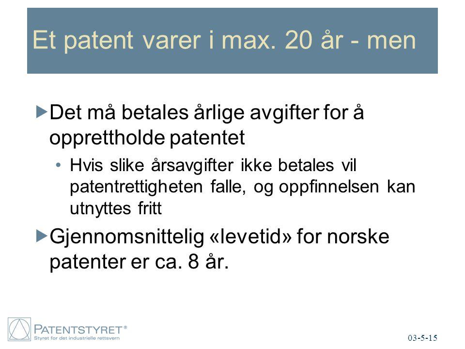 Et patent varer i max. 20 år - men  Det må betales årlige avgifter for å opprettholde patentet Hvis slike årsavgifter ikke betales vil patentrettighe