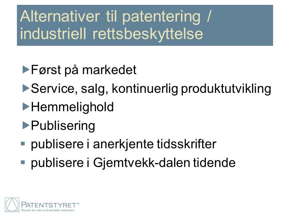 Alternativer til patentering / industriell rettsbeskyttelse  Først på markedet  Service, salg, kontinuerlig produktutvikling  Hemmelighold  Publisering  publisere i anerkjente tidsskrifter  publisere i Gjemtvekk-dalen tidende