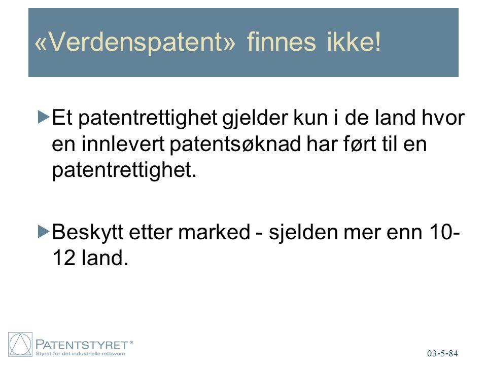 «Verdenspatent» finnes ikke!  Et patentrettighet gjelder kun i de land hvor en innlevert patentsøknad har ført til en patentrettighet.  Beskytt ette