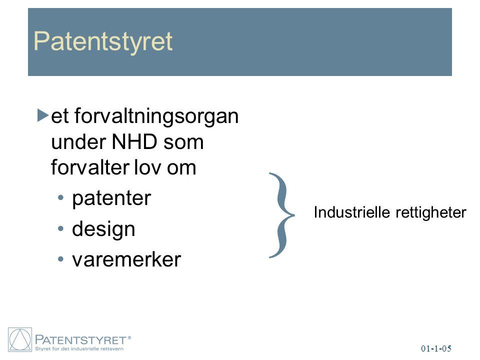 Patentstyret  et forvaltningsorgan under NHD som forvalter lov om patenter design varemerker } Industrielle rettigheter 01-1-05