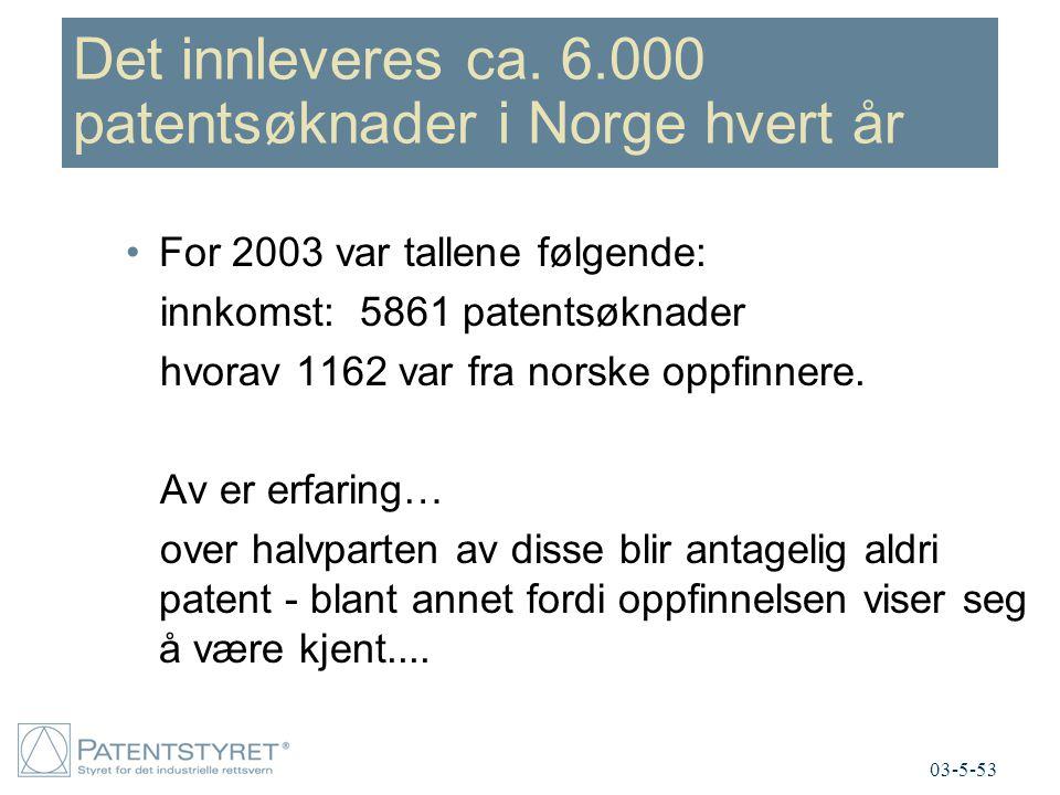 Det innleveres ca. 6.000 patentsøknader i Norge hvert år For 2003 var tallene følgende: innkomst: 5861 patentsøknader hvorav 1162 var fra norske oppfi