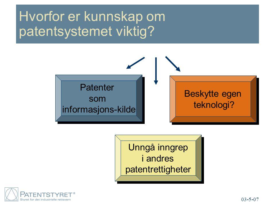 Hvorfor er kunnskap om patentsystemet viktig? 03-5-07 Patenter som informasjons-kilde Patenter som informasjons-kilde Beskytte egen teknologi? Beskytt