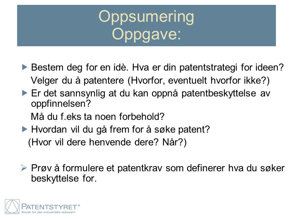 Oppsumering Oppgave:  Bestem deg for en idè. Hva er din patentstrategi for ideen? Velger du å patentere (Hvorfor, eventuelt hvorfor ikke?)  Er det s