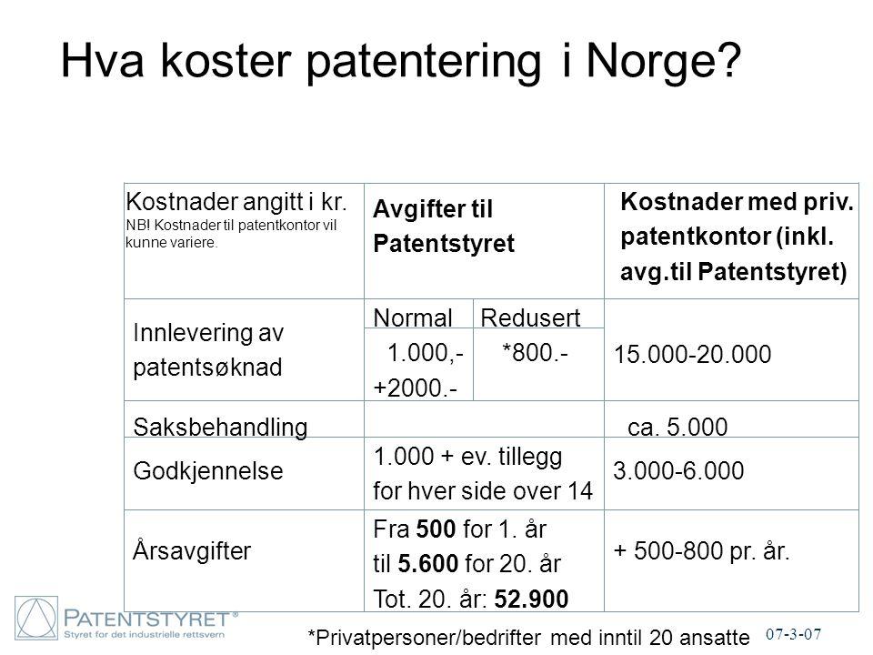 Hva koster patentering i Norge? Avgifter til Patentstyret Innlevering av patentsøknad Saksbehandling Godkjennelse Årsavgifter Kostnader med priv. pate