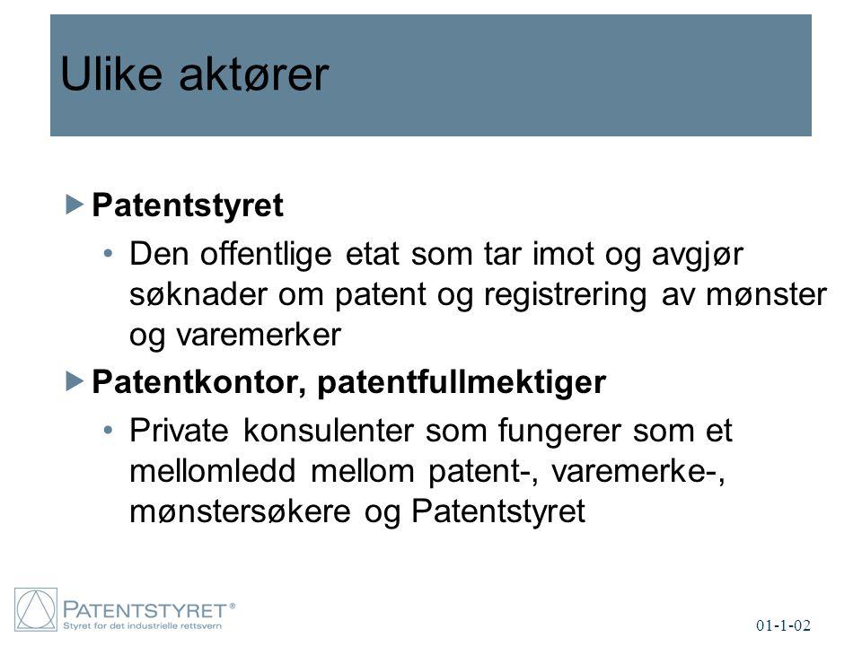 Ulike aktører  Patentstyret Den offentlige etat som tar imot og avgjør søknader om patent og registrering av mønster og varemerker  Patentkontor, patentfullmektiger Private konsulenter som fungerer som et mellomledd mellom patent-, varemerke-, mønstersøkere og Patentstyret 01-1-02