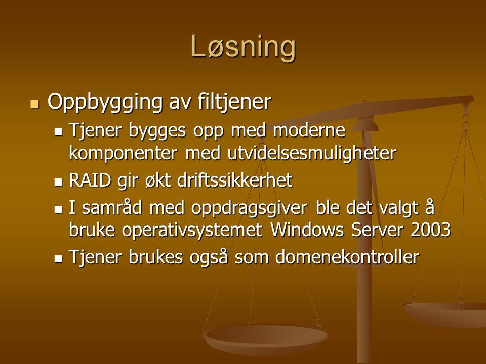 Løsning Oppbygging av filtjener Oppbygging av filtjener Tjener bygges opp med moderne komponenter med utvidelsesmuligheter Tjener bygges opp med moderne komponenter med utvidelsesmuligheter RAID gir økt driftssikkerhet RAID gir økt driftssikkerhet I samråd med oppdragsgiver ble det valgt å bruke operativsystemet Windows Server 2003 I samråd med oppdragsgiver ble det valgt å bruke operativsystemet Windows Server 2003 Tjener brukes også som domenekontroller Tjener brukes også som domenekontroller