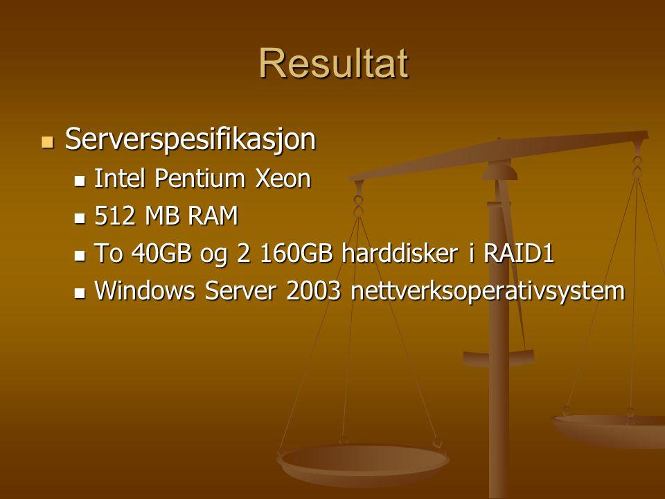Resultat Serverspesifikasjon Serverspesifikasjon Intel Pentium Xeon Intel Pentium Xeon 512 MB RAM 512 MB RAM To 40GB og 2 160GB harddisker i RAID1 To 40GB og 2 160GB harddisker i RAID1 Windows Server 2003 nettverksoperativsystem Windows Server 2003 nettverksoperativsystem