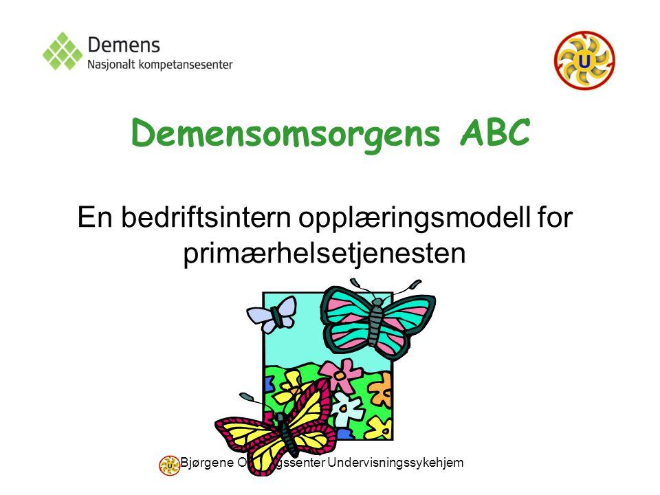 Bjørgene Omsorgssenter Undervisningssykehjem Demensomsorgens ABC En bedriftsintern opplæringsmodell for primærhelsetjenesten