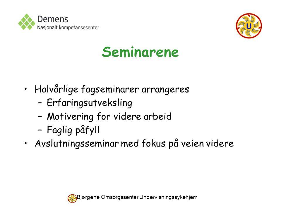 Bjørgene Omsorgssenter Undervisningssykehjem Seminarene Halvårlige fagseminarer arrangeres –Erfaringsutveksling –Motivering for videre arbeid –Faglig