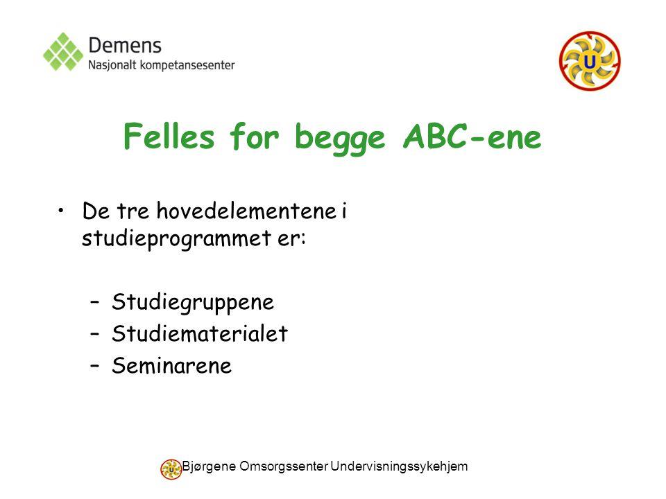 Bjørgene Omsorgssenter Undervisningssykehjem Felles for begge ABC-ene De tre hovedelementene i studieprogrammet er: –Studiegruppene –Studiematerialet –Seminarene