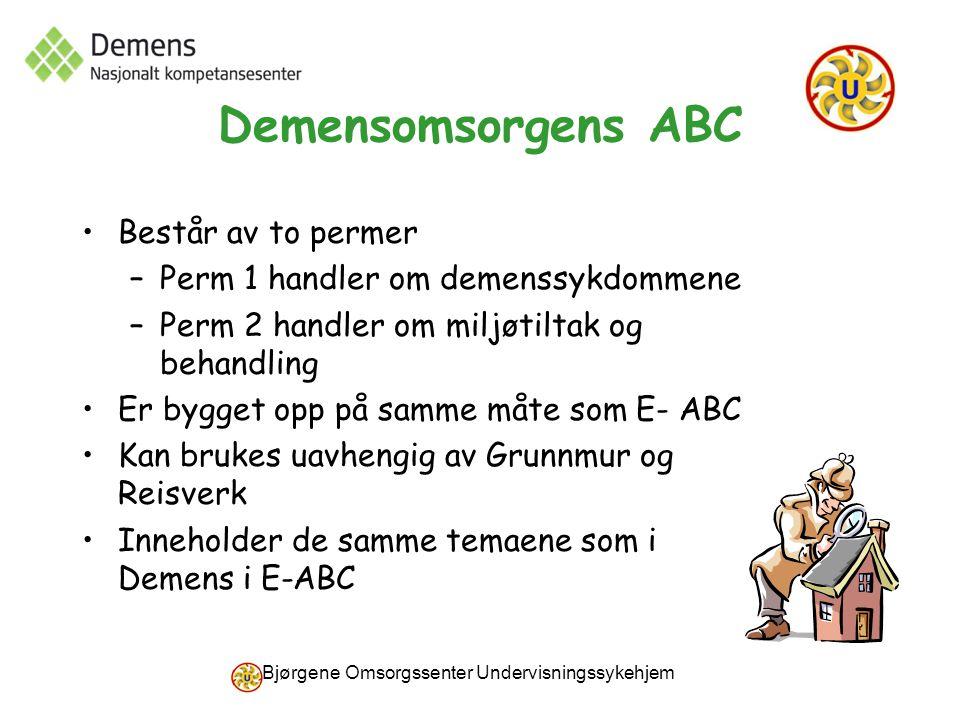 Bjørgene Omsorgssenter Undervisningssykehjem Demensomsorgens ABC Består av to permer –Perm 1 handler om demenssykdommene –Perm 2 handler om miljøtilta