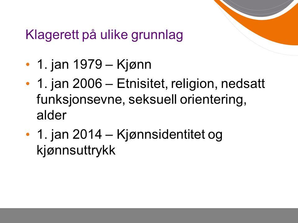 Klagerett på ulike grunnlag 1. jan 1979 – Kjønn 1. jan 2006 – Etnisitet, religion, nedsatt funksjonsevne, seksuell orientering, alder 1. jan 2014 – Kj