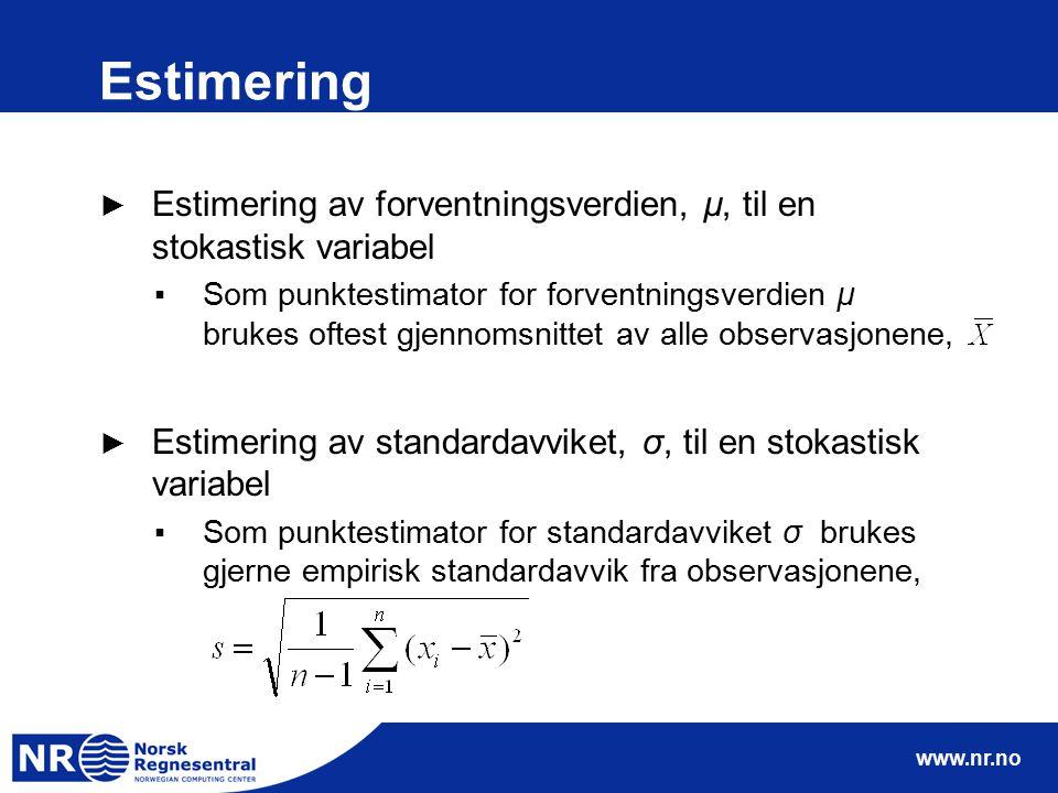 www.nr.no Estimering ► Estimering av forventningsverdien, µ, til en stokastisk variabel ▪Som punktestimator for forventningsverdien µ brukes oftest gj