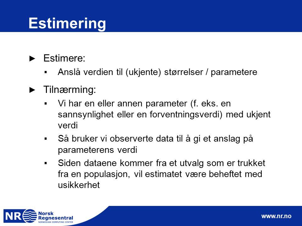 www.nr.no Estimering ► Estimere: ▪Anslå verdien til (ukjente) størrelser / parametere ► Tilnærming: ▪Vi har en eller annen parameter (f. eks. en sanns
