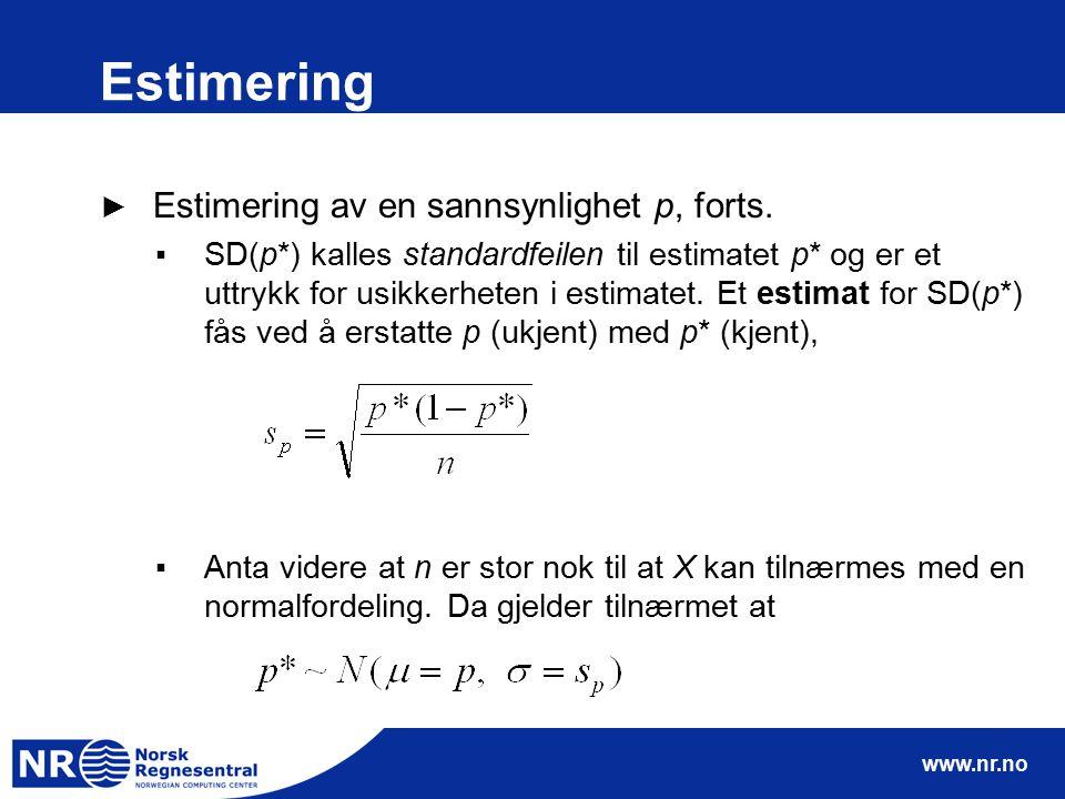 www.nr.no Estimering ► Estimering av en sannsynlighet p, forts. ▪SD(p*) kalles standardfeilen til estimatet p* og er et uttrykk for usikkerheten i est