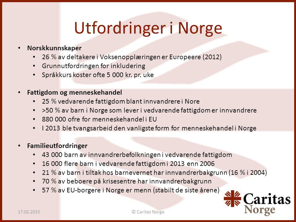 Utfordringer i Norge © Caritas Norge17.02.2015 Norskkunnskaper 26 % av deltakere i Voksenopplæringen er Europeere (2012) Grunnutfordringen for inkludering Språkkurs koster ofte 5 000 kr.