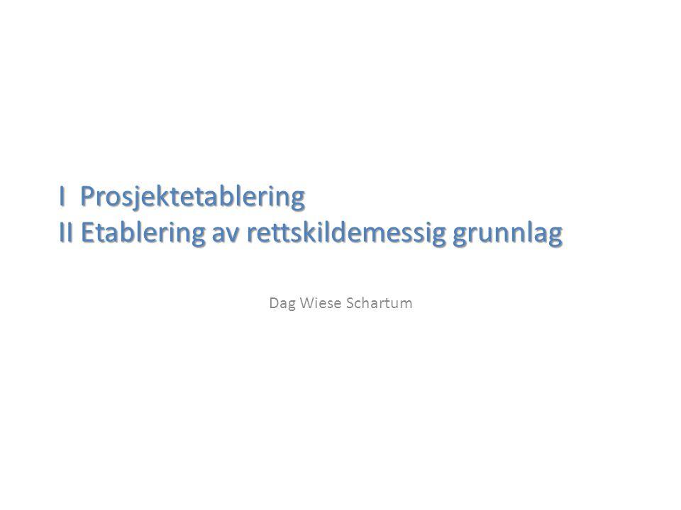 I Prosjektetablering II Etablering av rettskildemessig grunnlag Dag Wiese Schartum