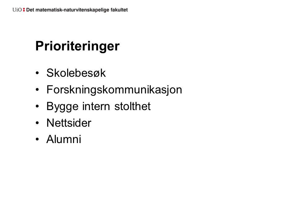 Prioriteringer Skolebesøk Forskningskommunikasjon Bygge intern stolthet Nettsider Alumni