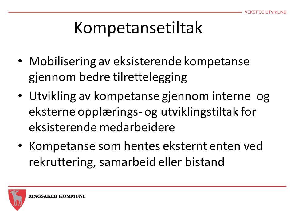 Kompetansetiltak Mobilisering av eksisterende kompetanse gjennom bedre tilrettelegging Utvikling av kompetanse gjennom interne og eksterne opplærings-