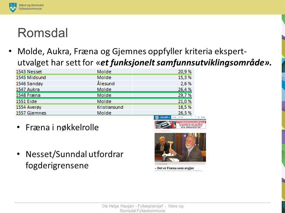 Romsdal Ole Helge Haugen - Fylkesplansjef - Møre og Romsdal Fylkeskommune Molde, Aukra, Fræna og Gjemnes oppfyller kriteria ekspert- utvalget har sett
