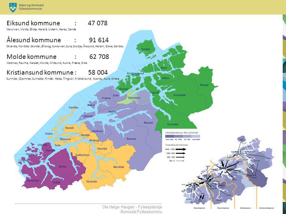 Ole Helge Haugen - Fylkesplansjef - Møre og Romsdal Fylkeskommune Eiksund kommune : 47 078 Vanylven, Volda, Ørsta, Hareid, Ulstein, Herøy, Sande Ålesu
