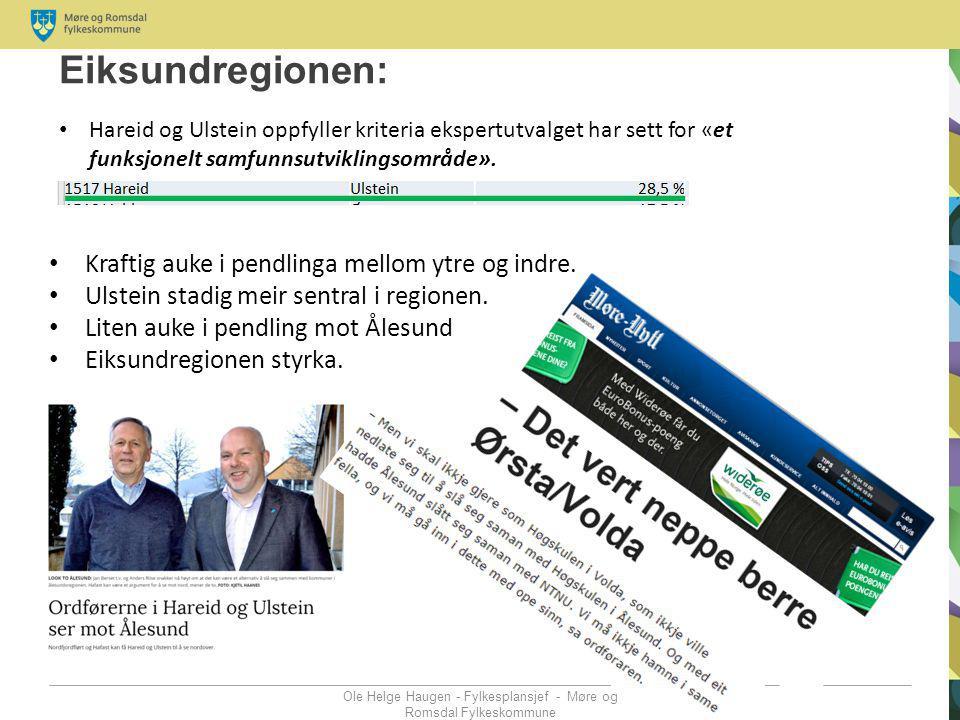 Eiksundregionen: Ole Helge Haugen - Fylkesplansjef - Møre og Romsdal Fylkeskommune Kraftig auke i pendlinga mellom ytre og indre. Ulstein stadig meir