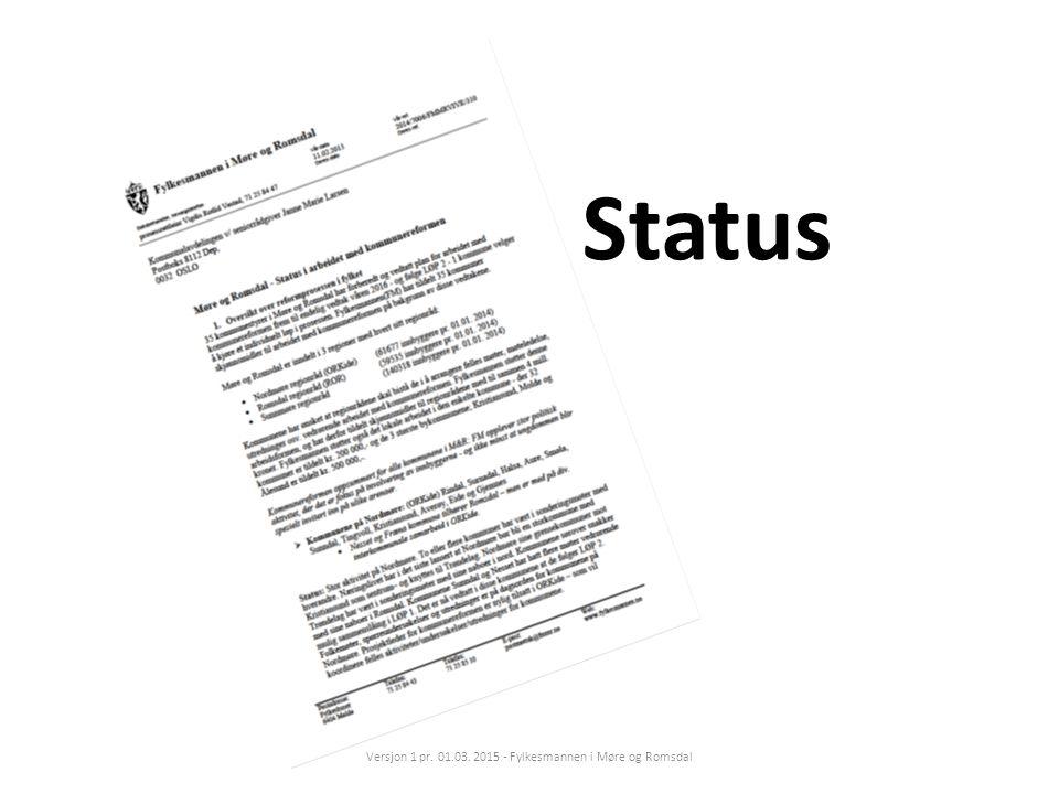 Status Versjon 1 pr. 01.03. 2015 - Fylkesmannen i Møre og Romsdal