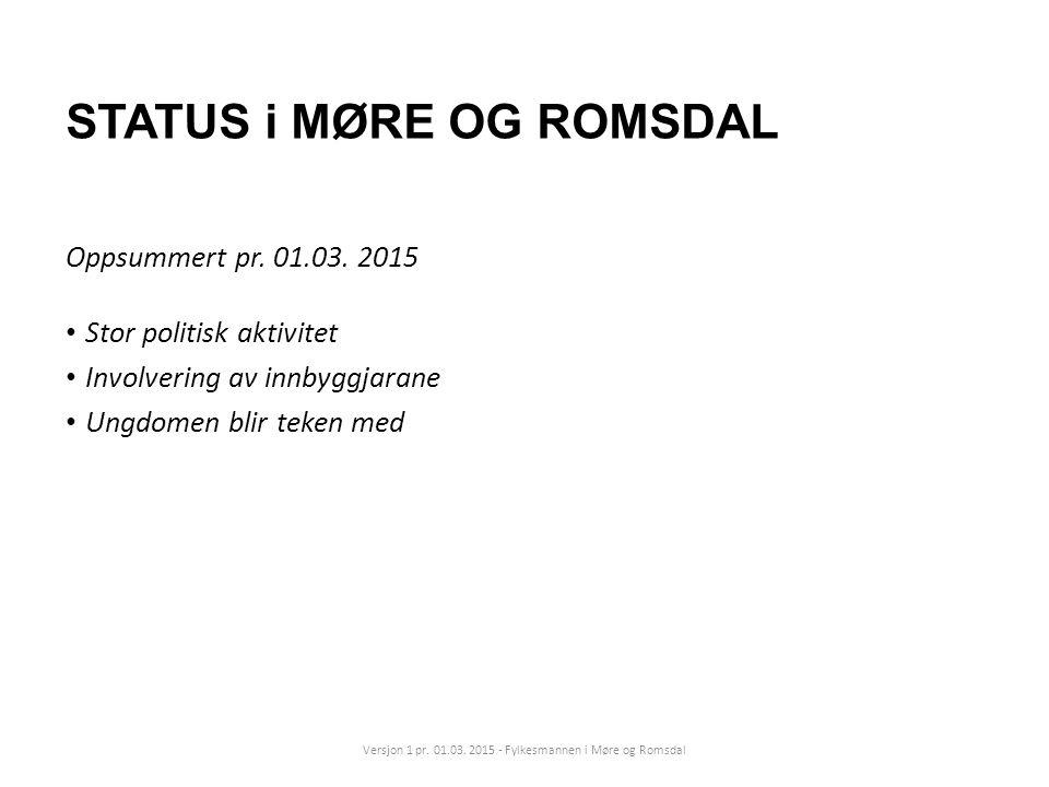 STATUS i MØRE OG ROMSDAL Oppsummert pr. 01.03. 2015 Stor politisk aktivitet Involvering av innbyggjarane Ungdomen blir teken med Versjon 1 pr. 01.03.
