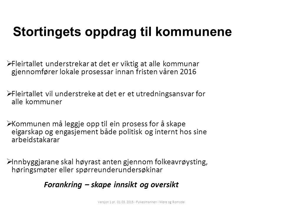 Stortingets oppdrag til kommunene  Fleirtallet understrekar at det er viktig at alle kommunar gjennomfører lokale prosessar innan fristen våren 2016