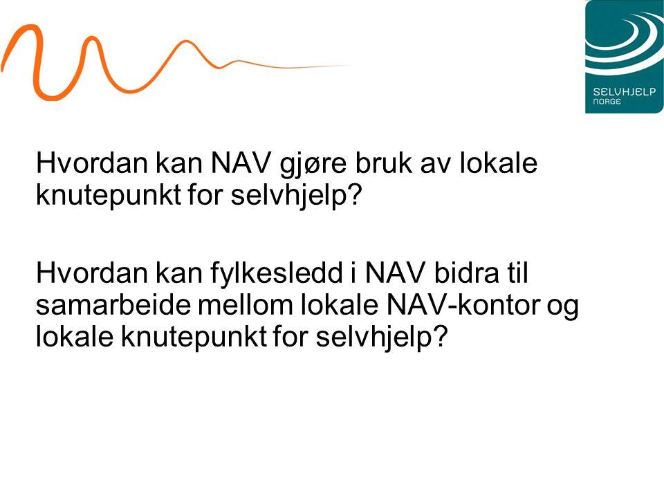 Hvordan kan NAV gjøre bruk av lokale knutepunkt for selvhjelp? Hvordan kan fylkesledd i NAV bidra til samarbeide mellom lokale NAV-kontor og lokale kn