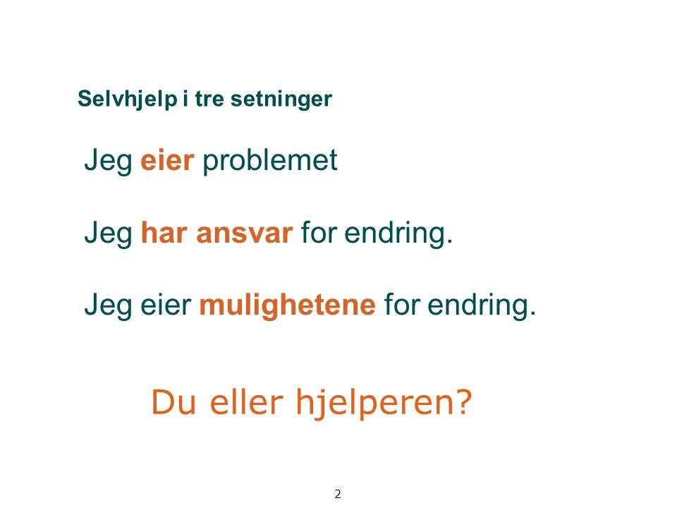 2 Selvhjelp i tre setninger Jeg eier problemet Jeg har ansvar for endring. Jeg eier mulighetene for endring. Du eller hjelperen?
