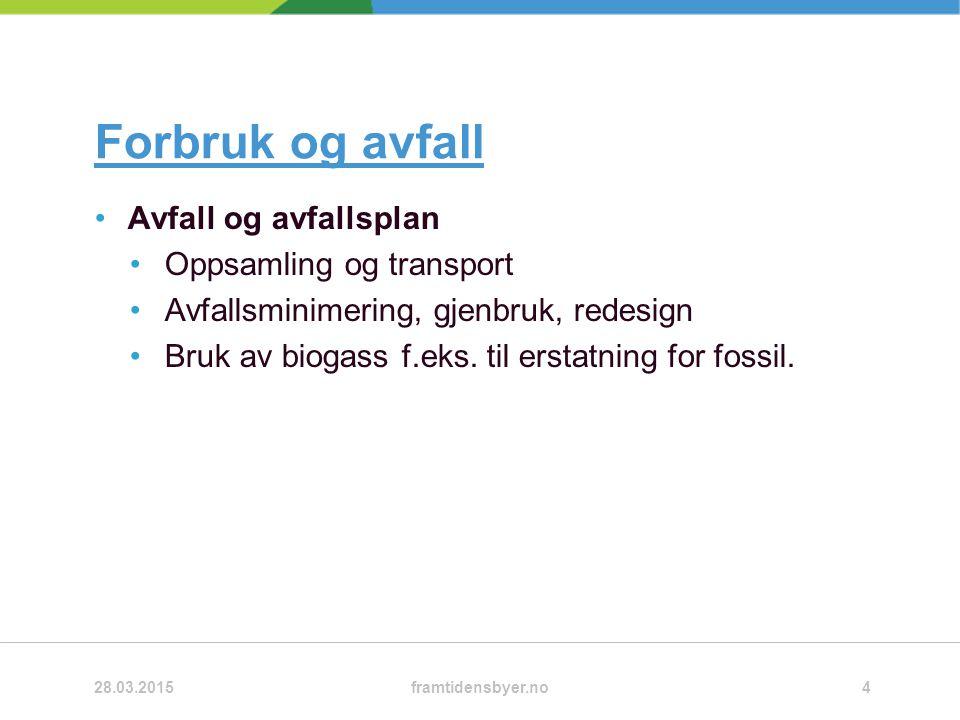 Forbruk og avfall Avfall og avfallsplan Oppsamling og transport Avfallsminimering, gjenbruk, redesign Bruk av biogass f.eks.