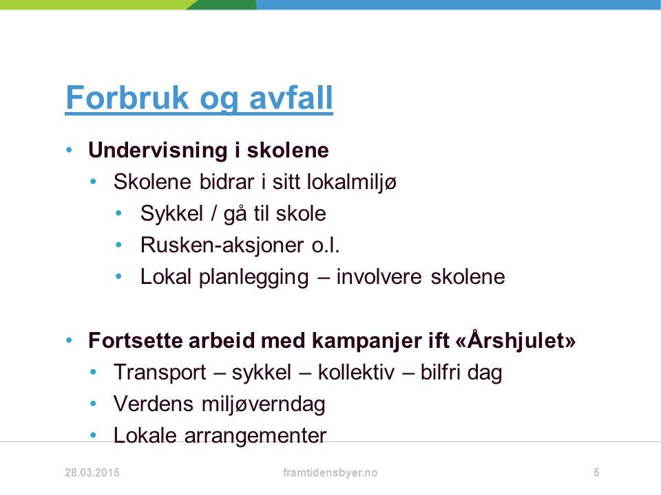 Forbruk og avfall Undervisning i skolene Skolene bidrar i sitt lokalmiljø Sykkel / gå til skole Rusken-aksjoner o.l.