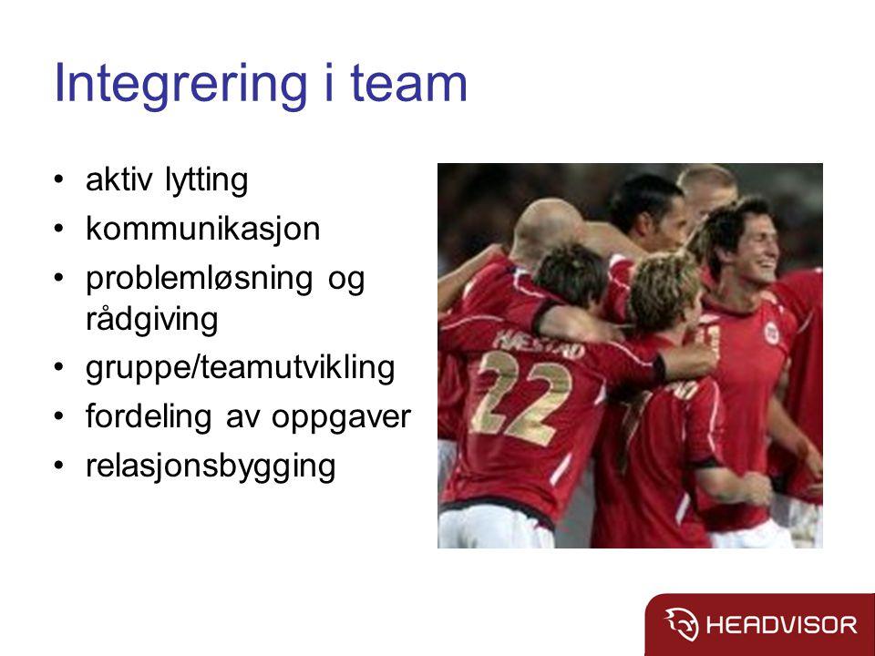 Integrering i team aktiv lytting kommunikasjon problemløsning og rådgiving gruppe/teamutvikling fordeling av oppgaver relasjonsbygging