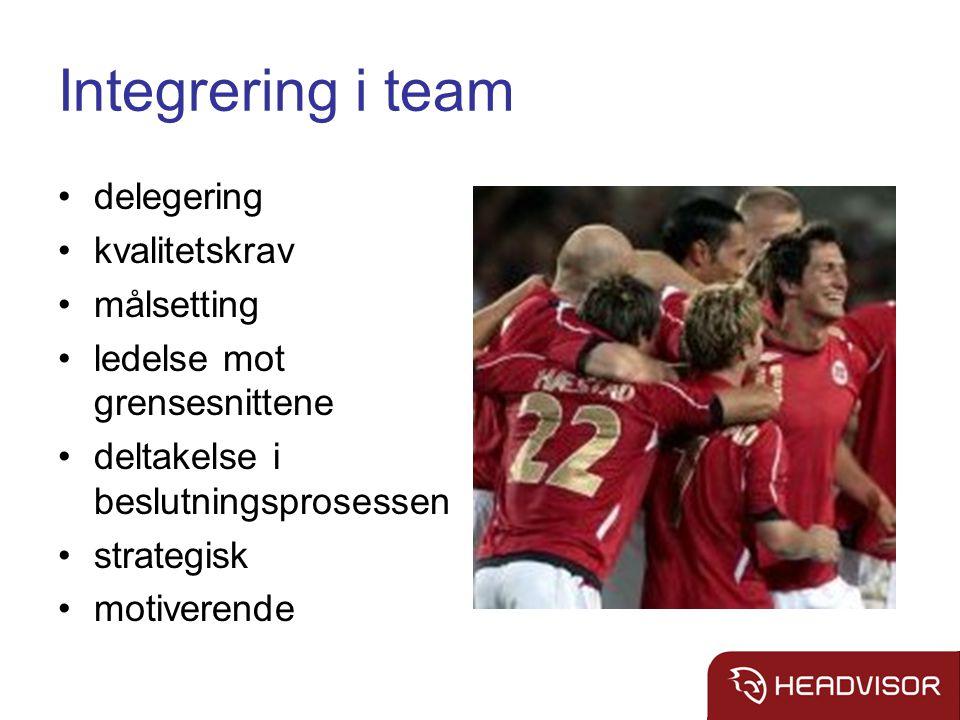 Integrering i team delegering kvalitetskrav målsetting ledelse mot grensesnittene deltakelse i beslutningsprosessen strategisk motiverende