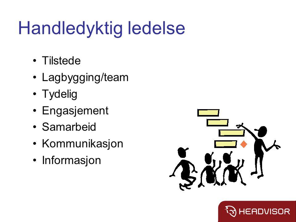 Handledyktig ledelse Tilstede Lagbygging/team Tydelig Engasjement Samarbeid Kommunikasjon Informasjon