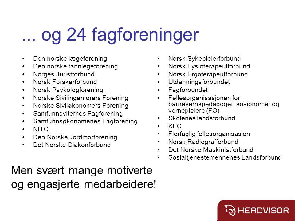 ... og 24 fagforeninger Den norske lægeforening Den norske tannlegeforening Norges Juristforbund Norsk Forskerforbund Norsk Psykologforening Norske Si