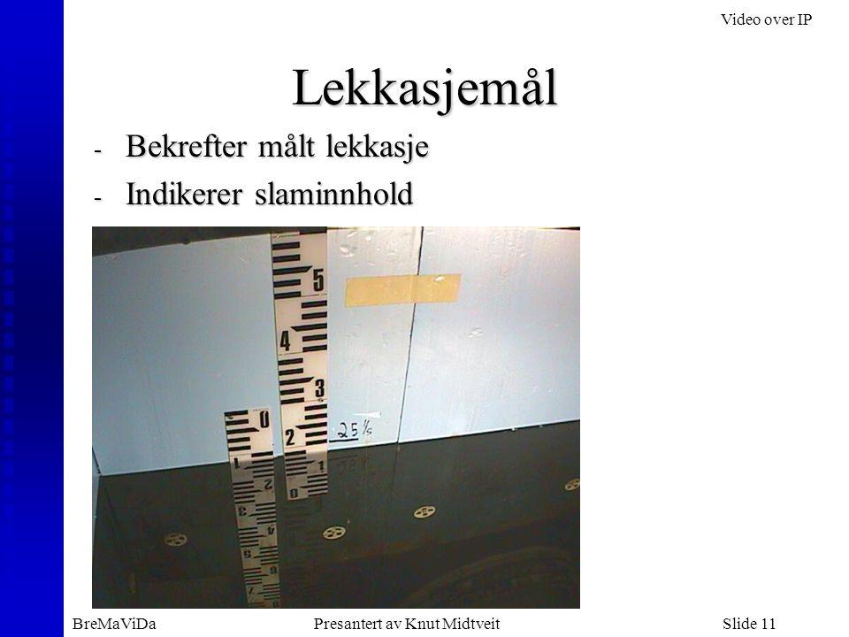 Video over IP BreMaViDaPresantert av Knut MidtveitSlide 11 - Bekrefter målt lekkasje - Indikerer slaminnhold Lekkasjemål