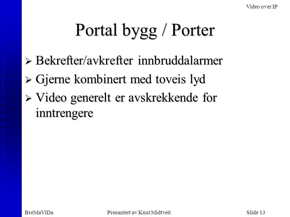 Video over IP BreMaViDaPresantert av Knut MidtveitSlide 13 Portal bygg / Porter  Bekrefter/avkrefter innbruddalarmer  Gjerne kombinert med toveis ly