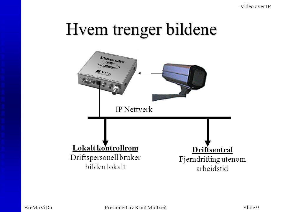 Video over IP BreMaViDaPresantert av Knut MidtveitSlide 9 Hvem trenger bildene IP Nettverk Lokalt kontrollrom Driftspersonell bruker bilden lokalt Driftsentral Fjerndrifting utenom arbeidstid