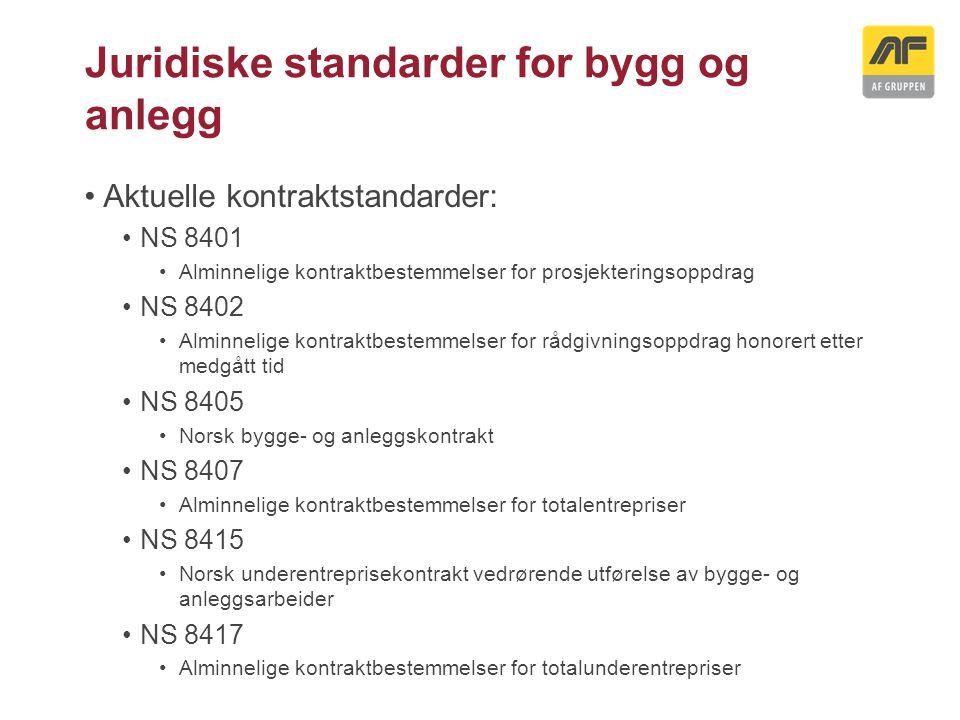 Juridiske standarder for bygg og anlegg Aktuelle kontraktstandarder: NS 8401 Alminnelige kontraktbestemmelser for prosjekteringsoppdrag NS 8402 Alminn