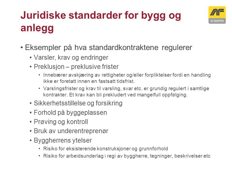 Juridiske standarder for bygg og anlegg Eksempler på hva standardkontraktene regulerer Varsler, krav og endringer Preklusjon – preklusive frister Inne