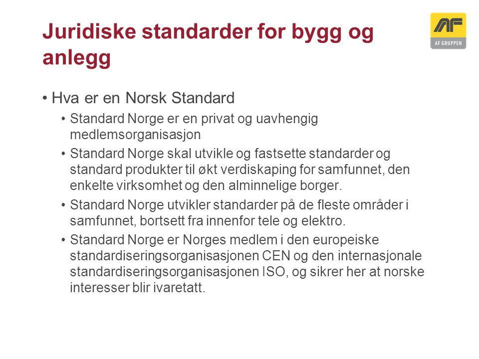 Juridiske standarder for bygg og anlegg Hva er en Norsk Standard Standard Norge er en privat og uavhengig medlemsorganisasjon Standard Norge skal utvi