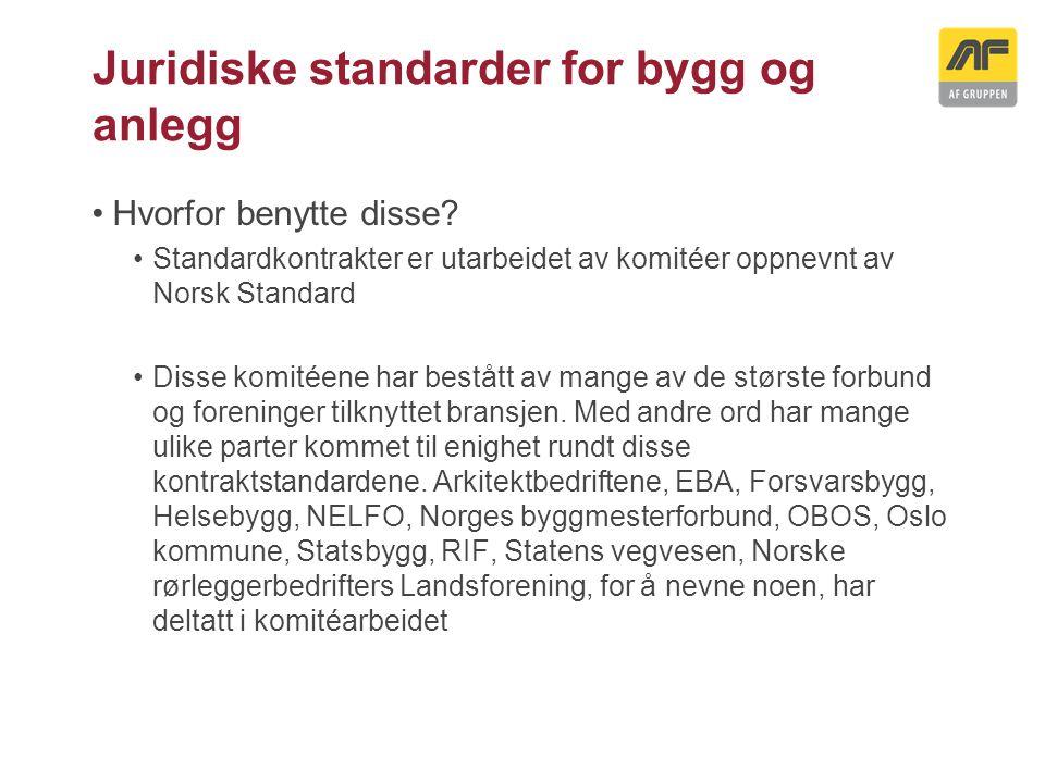 Juridiske standarder for bygg og anlegg Aktuelle kontraktstandarder: NS 8401 Alminnelige kontraktbestemmelser for prosjekteringsoppdrag NS 8402 Alminnelige kontraktbestemmelser for rådgivningsoppdrag honorert etter medgått tid NS 8405 Norsk bygge- og anleggskontrakt NS 8407 Alminnelige kontraktbestemmelser for totalentrepriser NS 8415 Norsk underentreprisekontrakt vedrørende utførelse av bygge- og anleggsarbeider NS 8417 Alminnelige kontraktbestemmelser for totalunderentrepriser