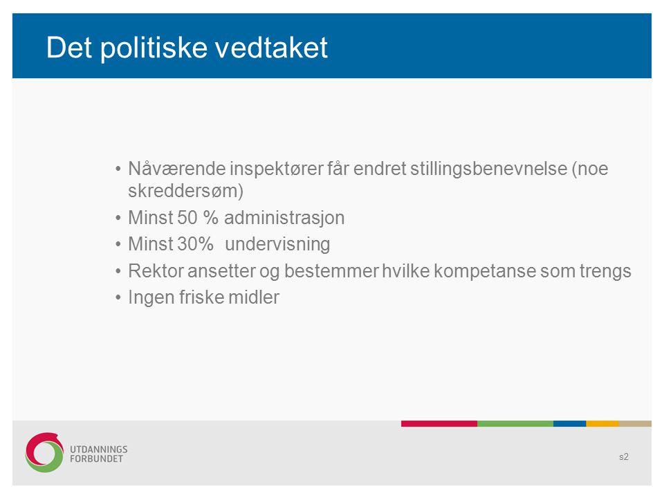 Det politiske vedtaket s2 Nåværende inspektører får endret stillingsbenevnelse (noe skreddersøm) Minst 50 % administrasjon Minst 30% undervisning Rekt