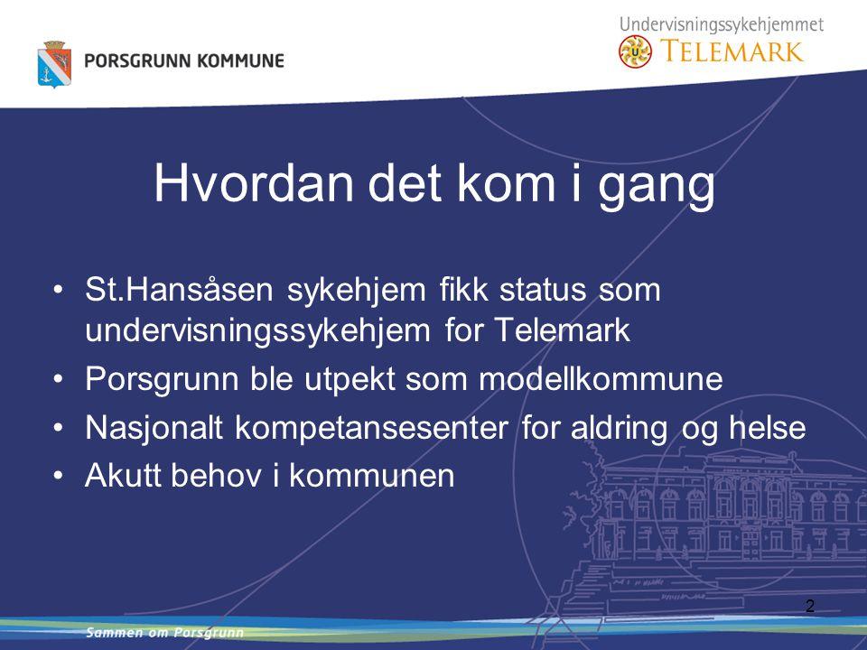 2 St.Hansåsen sykehjem fikk status som undervisningssykehjem for Telemark Porsgrunn ble utpekt som modellkommune Nasjonalt kompetansesenter for aldring og helse Akutt behov i kommunen Hvordan det kom i gang