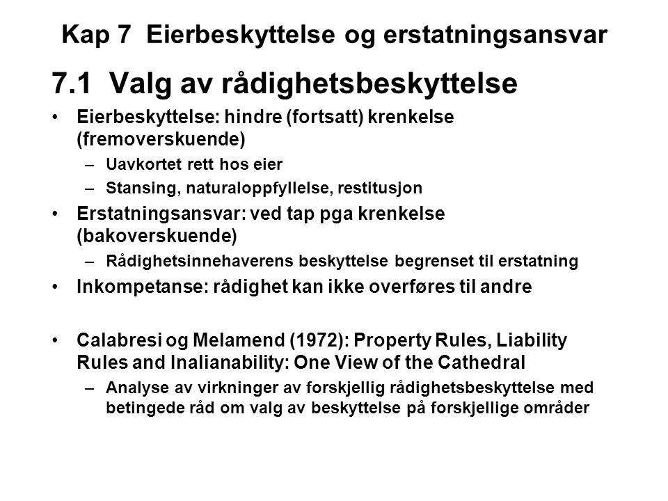 Kap 7 Eierbeskyttelse og erstatningsansvar 7.1 Valg av rådighetsbeskyttelse Eierbeskyttelse: hindre (fortsatt) krenkelse (fremoverskuende) –Uavkortet rett hos eier –Stansing, naturaloppfyllelse, restitusjon Erstatningsansvar: ved tap pga krenkelse (bakoverskuende) –Rådighetsinnehaverens beskyttelse begrenset til erstatning Inkompetanse: rådighet kan ikke overføres til andre Calabresi og Melamend (1972): Property Rules, Liability Rules and Inalianability: One View of the Cathedral –Analyse av virkninger av forskjellig rådighetsbeskyttelse med betingede råd om valg av beskyttelse på forskjellige områder