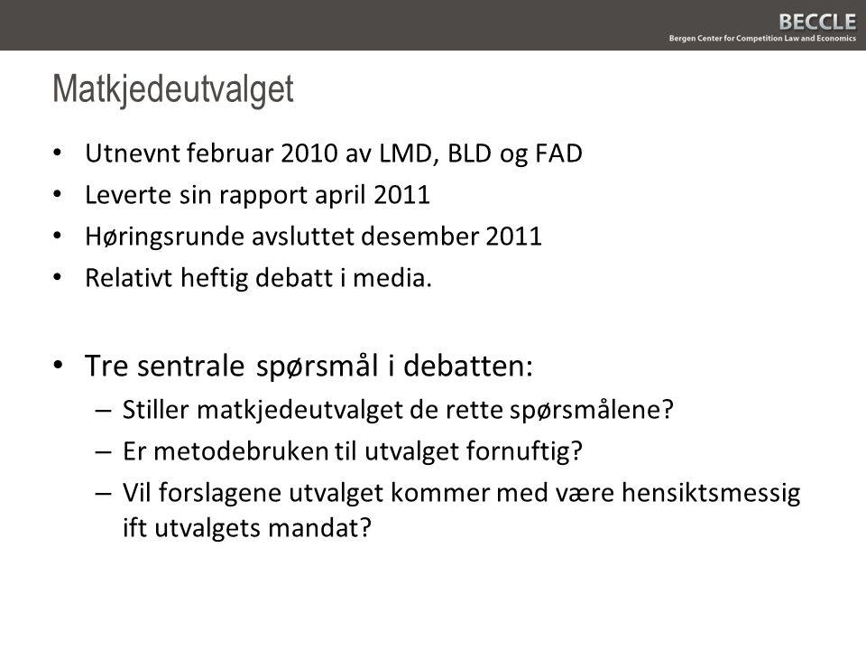 Matkjedeutvalget Utnevnt februar 2010 av LMD, BLD og FAD Leverte sin rapport april 2011 Høringsrunde avsluttet desember 2011 Relativt heftig debatt i media.